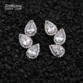 Luxury Round And Marquise Cut Cubic Zirconia Stone Stud Earrings For Women Water Drop Ear Studs Jewelry Bijouterie NSWE018