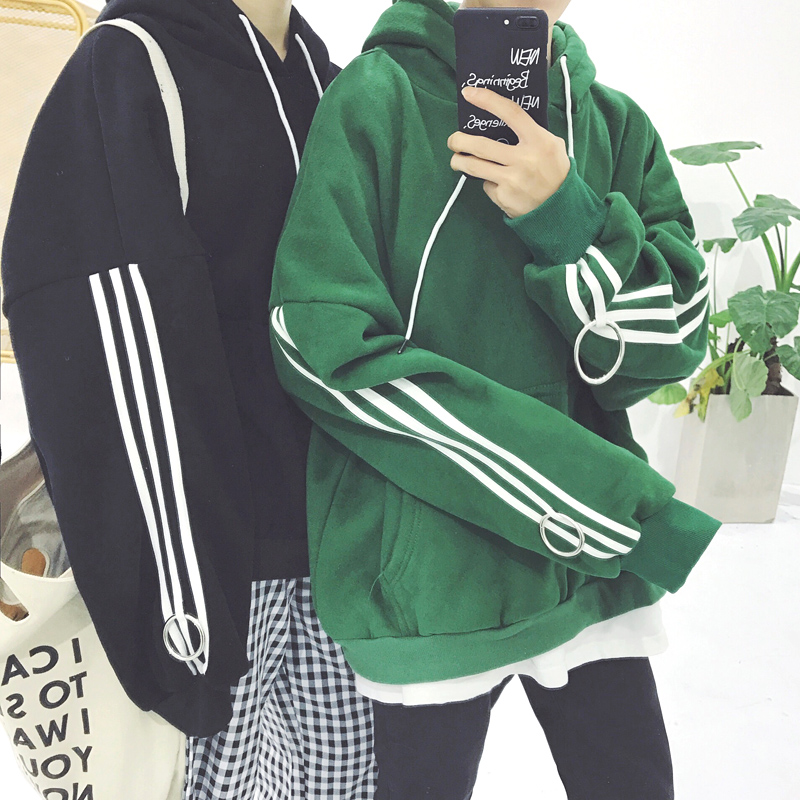 Korean Harajuku BF With Cashmere Sweatshirt Bars Hooded Men And Women Couples New Fashion Black Green