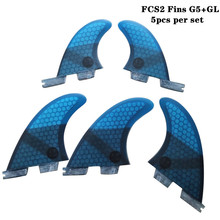 FCSII G5+GL Surfboard Blue/Black/Red/Green color Honeycomb Fins tri-quad fin set FCS 2 Fin Hot Sell II Quilhas