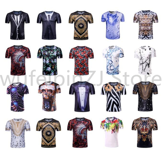 Fake Two Pieces 3D Print Men T Shirt 2018 Summer Short Sleeve Air Force Suit Design Mens T-shirts Casual Slim Fit Funny Top Tees 3