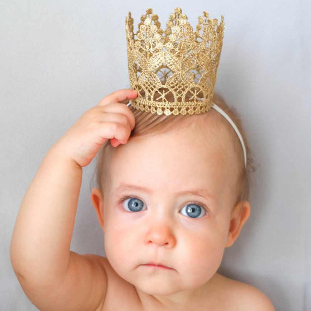 2017 Hot Sale Golden Crown Headband Baby Headwear Fashion Infant Bow Hair Accessories New Baby Photo Props Newborn Fotografia