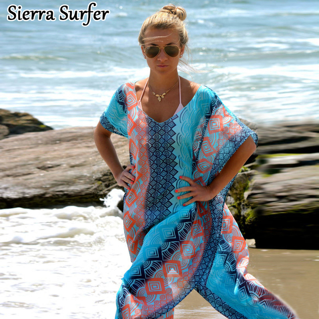 Beach Tunic Cover Up On Swimsuit 2018 Dress Cape Robe De Plage Women Sarong New Snow Spun Dress Robe Print Acetate Sierra Surfer