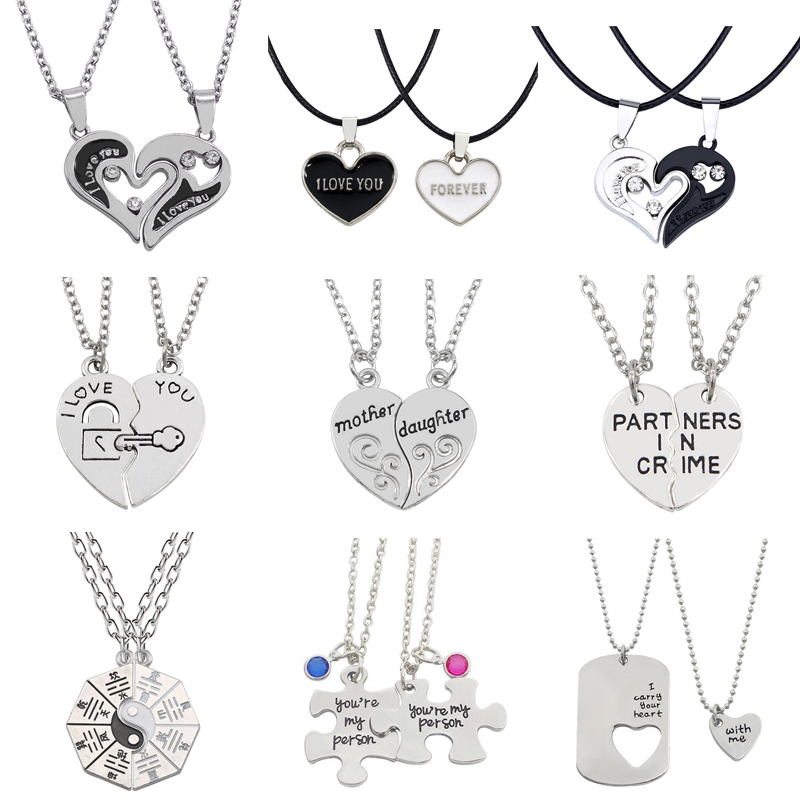Fashion I Love You Best Friends Couple Jewelry Puzzle BFF Key Lock Tai Chi Heart Pendant Necklace Men and Women Jewelry Gifts