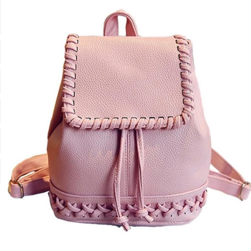 Pink Pu Leather Women Backpack Weaving Cross Small School Bag for Teenage Girls Travel Leisure Bags Korean Style Backpacks Y2