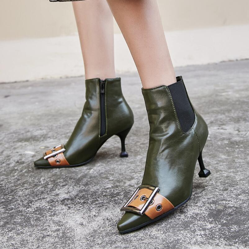 Leather Belt Buckle Ankle Boots Women Pointed Toe High Heels Martin Boots 42 43 Plus Size Autumn Winter Chelsea Booties S361