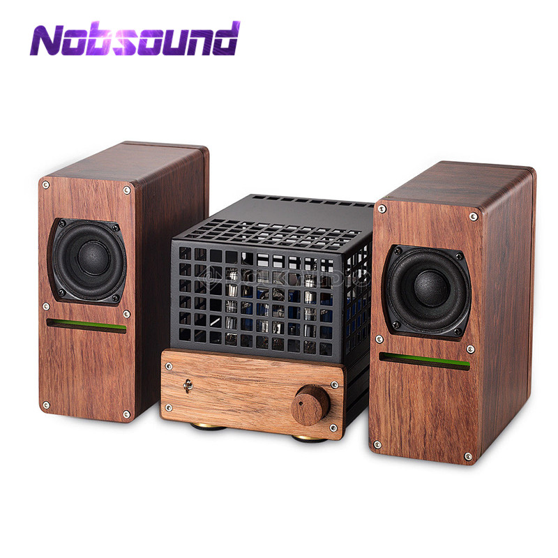 Nobsound HiFi Stereo 6N2 6N6 Vacuum Tube Amplifier 2 inch Speaker Rosewood Class AB Amp