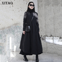 XITAO Women Pleated Plus Size Dress 2019 Autumn Stand Collar Button Wild Joker Single Breasted Black Casual Elegant ZLL1271