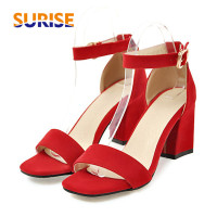 Plus Big Size Flock Block Low Medium Heels Women Sandals Open Toe Casual Party Buckle Summer