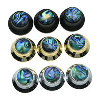 KAISH 3x High Quality Set Screw Abalone Top Chrome Black Gold Guitar Bass Knobs Strat Metal
