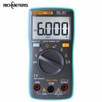 Multímetro RICHMETERS 102, luz trasera de 6000 recuentos, amperímetro CA/CC, voltímetro Ohm, frecuencia, temperatura de diodo