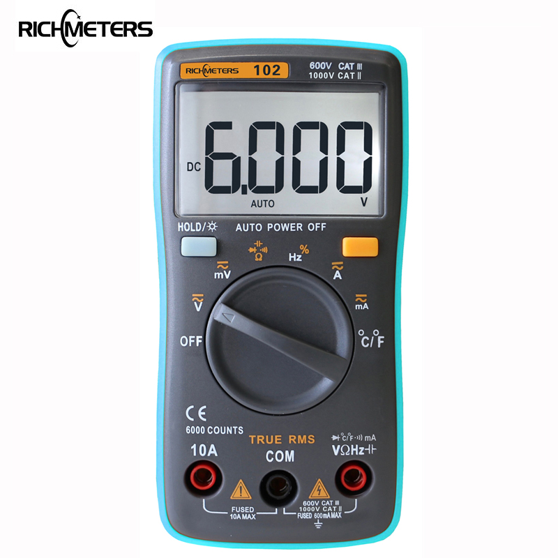 RICHMETERS 102 multímetro 6000 counts luz de fondo AC/DC amperímetro voltímetro Ohm frecuencia diodo temperatura