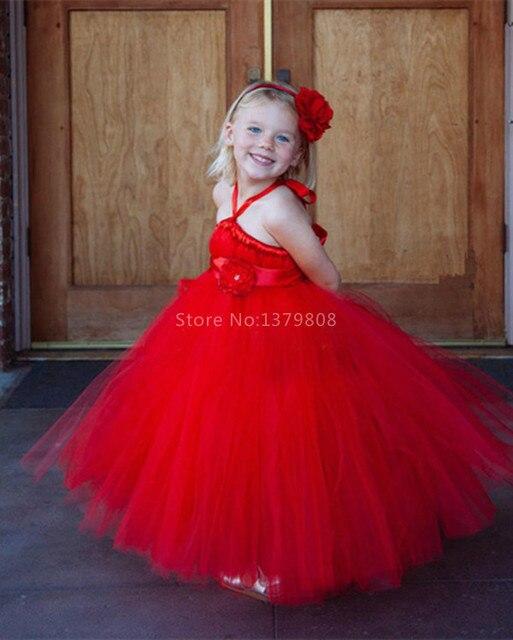 a815412b79 Chinese red veil net mesh angel dress customized girls tutu dresses  handmade red flower girl dress ribbon sash long fairy dress