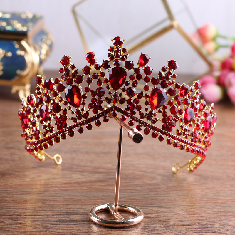 Red Rhinestone crown Tiaras Queen Vintage crystal Crowns Bridal Hair Accessories bride Headbands 2018 wedding hair jewelry 03 red gold bride wedding hair tiaras ancient chinese empress hat bride hair piece