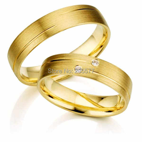2014 New Design Gold Plating Titanium Jewelry His And Hers Wedding Couples Rings Sets