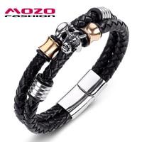 2016 Hot Brand Double Braided Leather Men Bracelet Stainless Steel Skull Bracelet Cool Men Punk Bangles