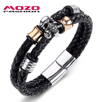 2016 Hot Brand Double Braided Leather Men Bracelet Stainless Steel Skull Bracelet Cool Men Punk Bangles