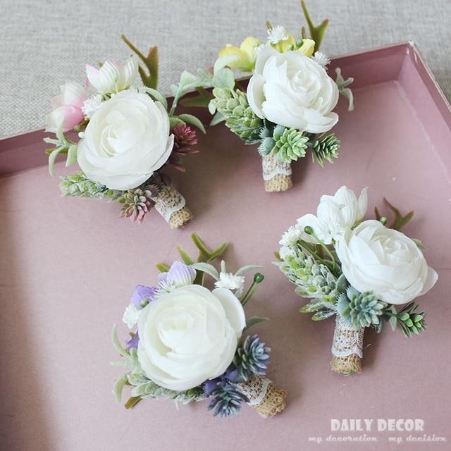 6pcs Artificial Succulent Plants White Rose Wedding Flowers Bride Groom Corsages Groomsmen Guest Boutonniere