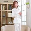 Kimono Pijamas Para Las Mujeres Del Cordón Blanco de Satén Pijamas ropa de Dormir de Manga Larga Pijama de Las Señoras de Seda
