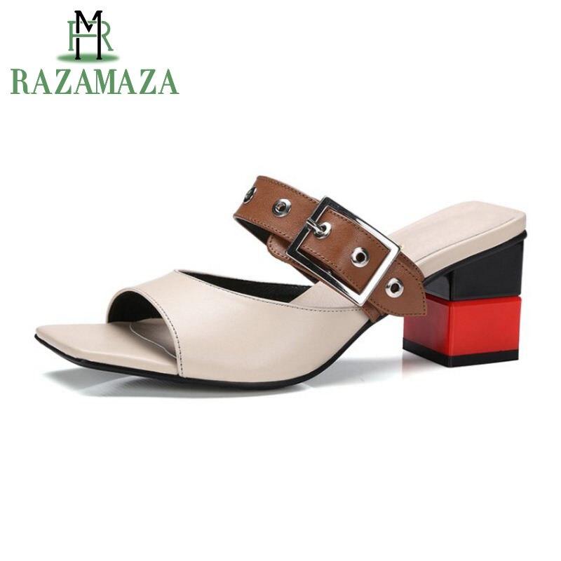 bcfcc605db892c Véritable Pantoufles Mixte 34 blanc Boucle Mode Beige Hauts Luxe Chaussures  Cuir En Femmes Couleur À D'été Razamaza 39 Sangle De Sandales ...
