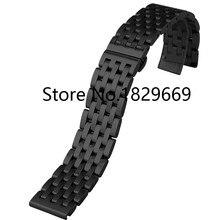 Nueva hombres mujeres negro Stainless Steel Watch Band correa extremo recto pulseras 20 mm 22 mm hebilla