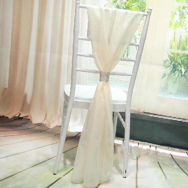 Белый свадебный стул покрывает шифон материал на заказ 54x180 см стул пояса свадебные принадлежности - Цвет: Бежевый