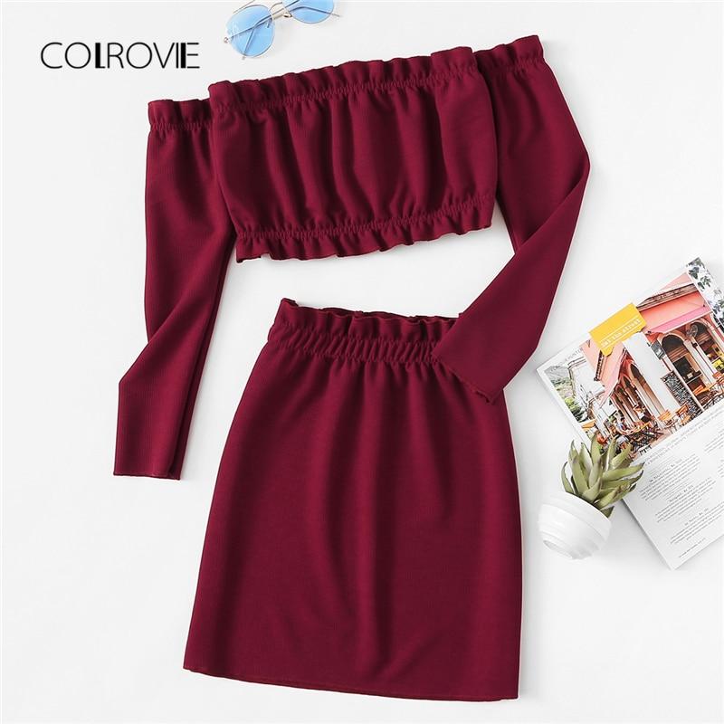 COLROVIE Burgundy Off The Shoulder Frill Trim Knit Crop Top Skirt Sexy Women Set Autumn Two Piece Set Beach Clothing Sets