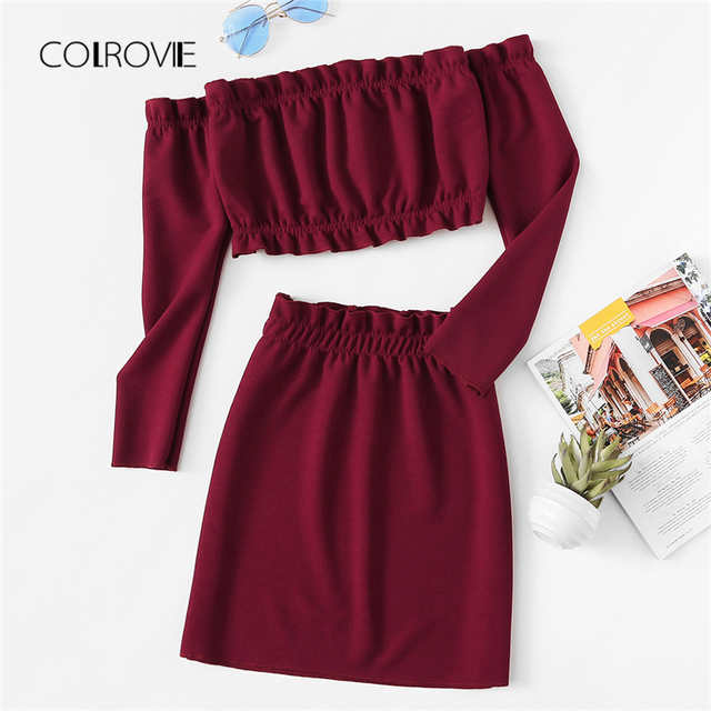 COLROVIE Burgundy Off The Shoulder Frill Trim Knit Crop Top Skirt Sexy Women Set Autumn Two Piece Set Beach Clothing Sets