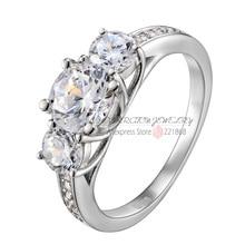925 joyería de plata esterlina Anillo de Compromiso Clásico 6.5mm Corazón y Flechas CZ 1 Quilates de Diamantes de Tres Anillo de Piedra