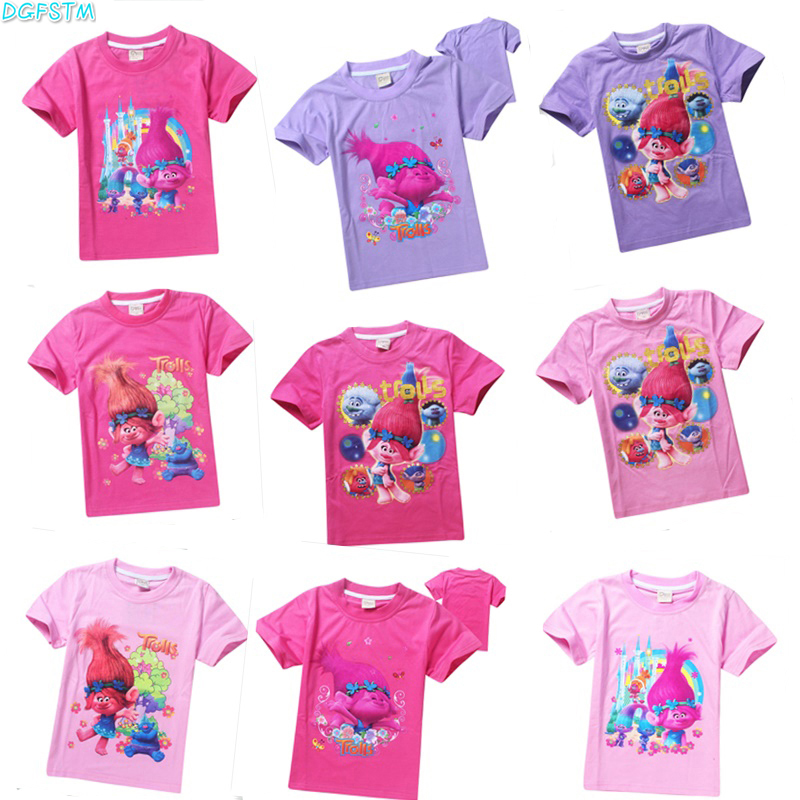 Girls tops tees boys t shirts summer cartoon children clothes kids short sleeve shirts brand vestidos infantil trolls t shirt ...