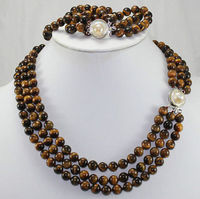 Selling Jewelry>>Natural 3 rows 8mm Africa Roaring Tiger Eye Necklace, Bracelet 17 19/7.5