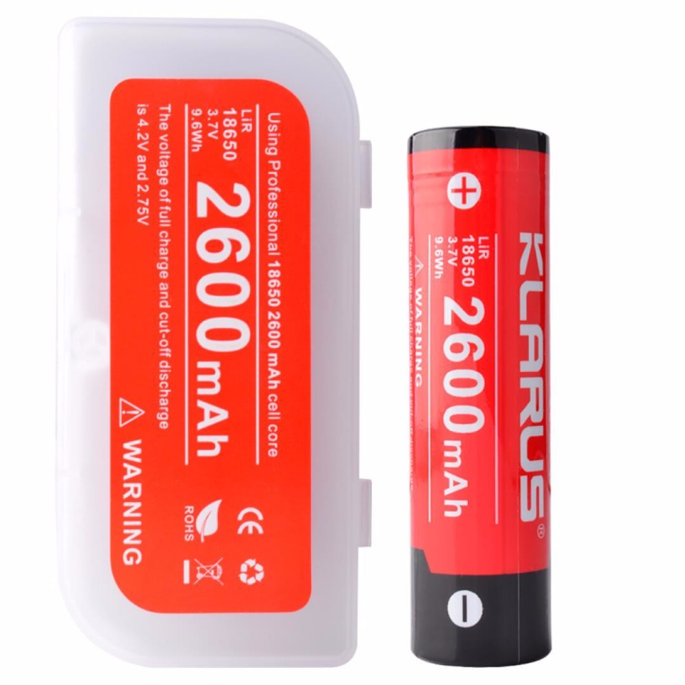 Original KLARUS 2600mAh Li-ion Cell Rechargeable 18650 Battery for Portable Klarus LED Flashlight ,Multiple Protection 8pcs lot new original sanyo 18650 2600mah ur18650zy 3 7v li ion rechargeable battery free shipping