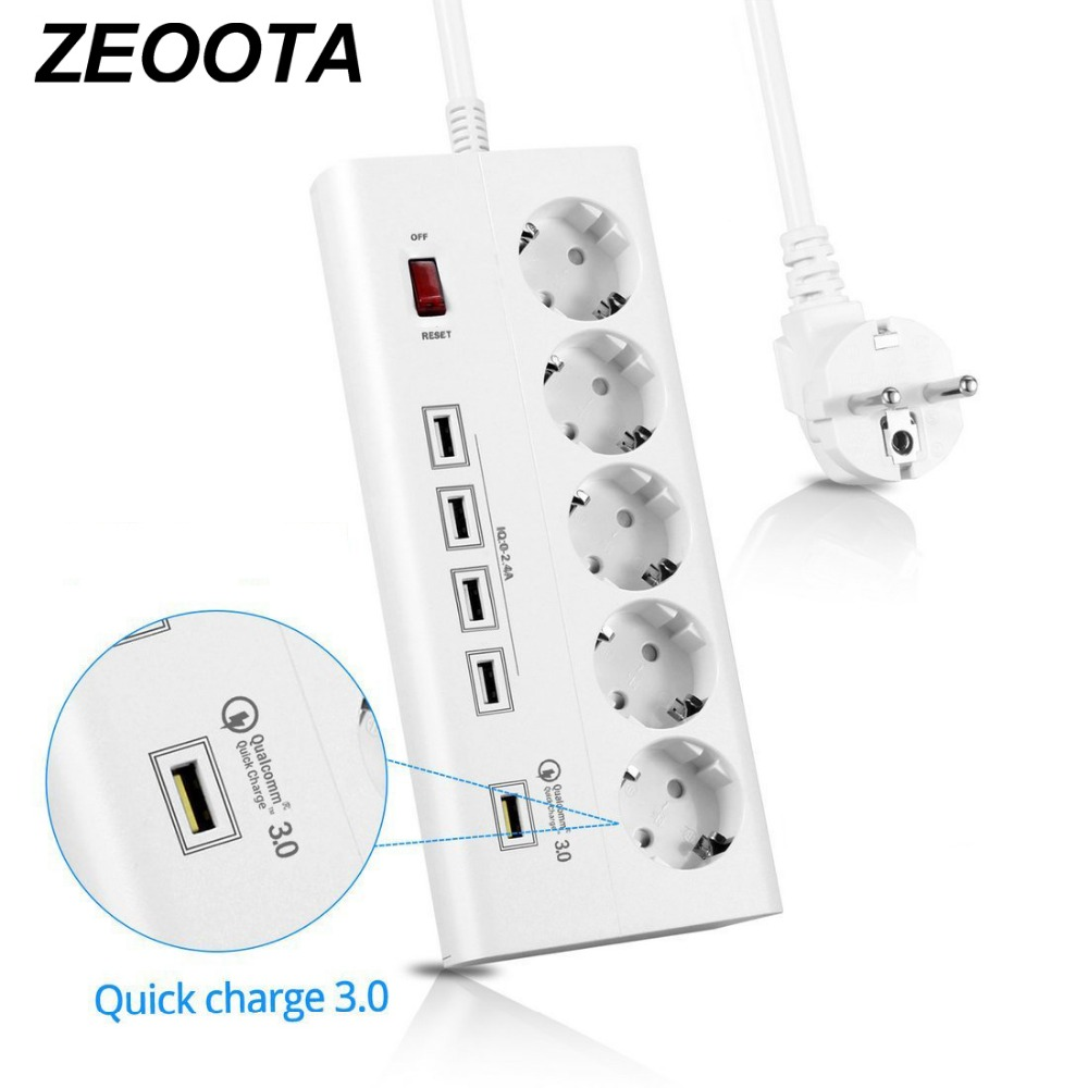 Power Strip 5 EU Outlets Plug Socket with USB QC 3.0 Quick Charge Port for Smartphones,Tablets USB Devices,1.8M Extension Cord video devices pix e7 7 touchscreen display power cord
