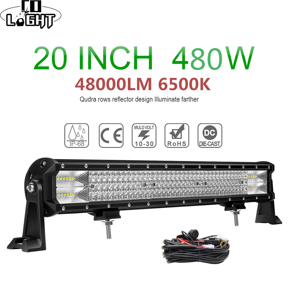 CO LICHT 12D 20 zoll 4-Reihen LED Licht Bar 480W Combo Beam Led Work Light Bar für auto <font><b>4x4</b></font> <font><b>Offroad</b></font> Lkw SUV ATV Boot 4WD 12V 24V image
