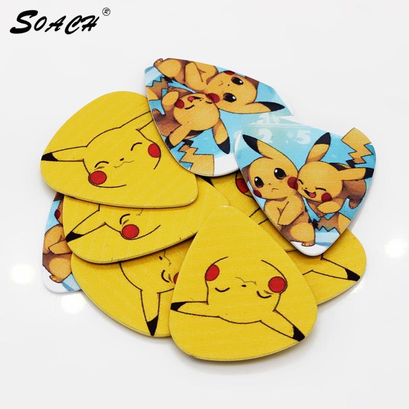 SOACH 10pcs/Lot 0.71mm thickness Lovely yellow mixed pattern guitar picks guitar accessories//Bass Guitar paddle/ukulele