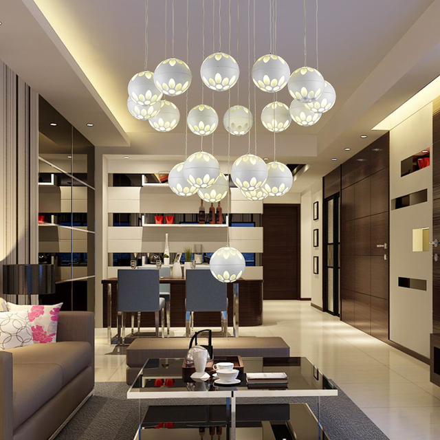 US $49.0 |Anello a forma di Lampada Lampadario moderno soggiorno camera da  letto lampada lampada di illuminazione lampada a sospensione luce bianca ...