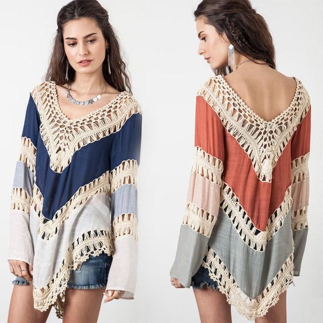 b2cc08f3eb New 2016 Women Hollow Bikini Cover Up Blouse Tops Bohemian Style Crochet  Lace Zig Zag Summer Beach Poncho Coverup Clothing Shirt