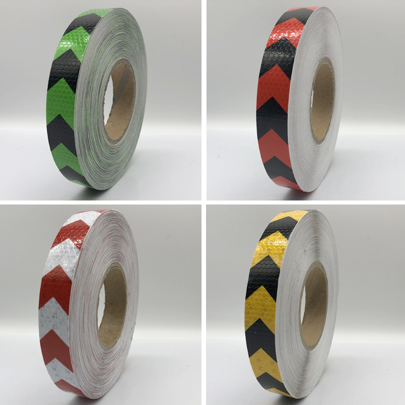 Купить с кэшбэком 25mmx25m Double Colors Arrow Pattern Mesh Reflective Ribbon Car Sticker Automotive Style Vehicle Truck Motorcycle Warning Tape