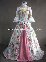 Rococo Style Flower Print Victorian Civil War/Southern Belle Ball Gown Dress