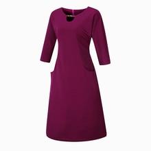 Women's Casual Straight Midi Cotton Dress