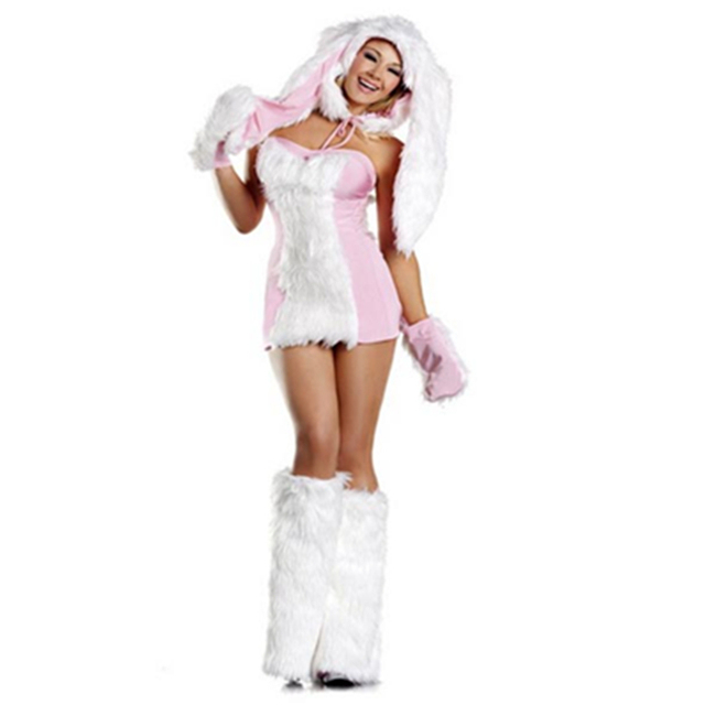 Blushing Strapless Sleeveless White Furry Bunny Adult Woman Costume Cute Sexy Dress Halloween Party Cosplay Outfit  sc 1 st  AliExpress.com & Blushing Strapless Sleeveless White Furry Bunny Adult Woman Costume ...