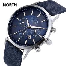 Северная Мужская Мода Бизнес часы Элитный бренд Повседневное военные Водонепроницаемый наручные часы кожаный ремешок часы кварцевые часы для человека