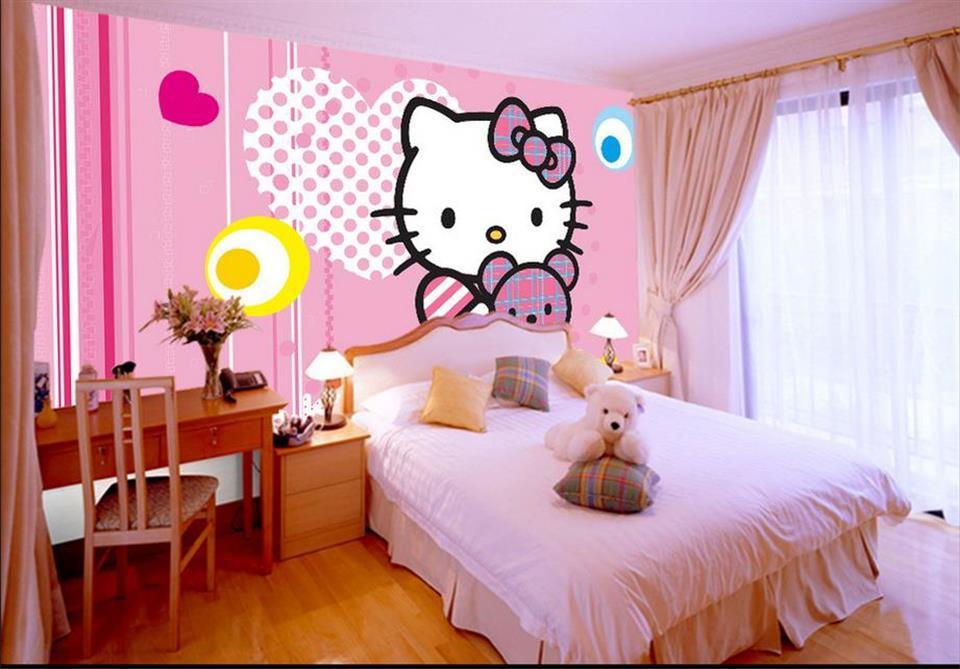Custom 3d Photo Wallpaper Kids Room Mural Wall Sticker Cartoon Hellokitty  Pink Painting Sofa TV Background Wall Non Woven Mural