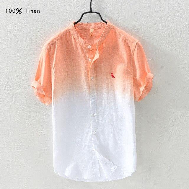 2018 RESERVA ARAMY Reservde Новое прибытие Мужская рубашка наивысшего качества мужская повседневная с коротким рукавом из 100% льна ткань рубашки мужчины sergio K