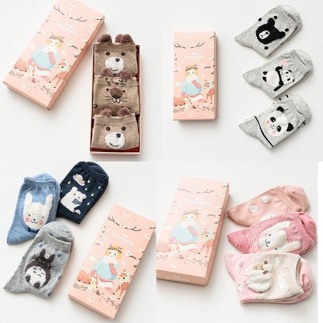190f6ed99985 3 pairs Brand Caramella Kawaii Animal Long Socks Women Cute Totoro Rabbit  Hamster Panda Bear Cartoon Sock With Gift Box
