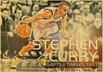 MVP basketball player Stephen Curry Art Poster kraft paper Painting Print Home Decor For Wall 5
