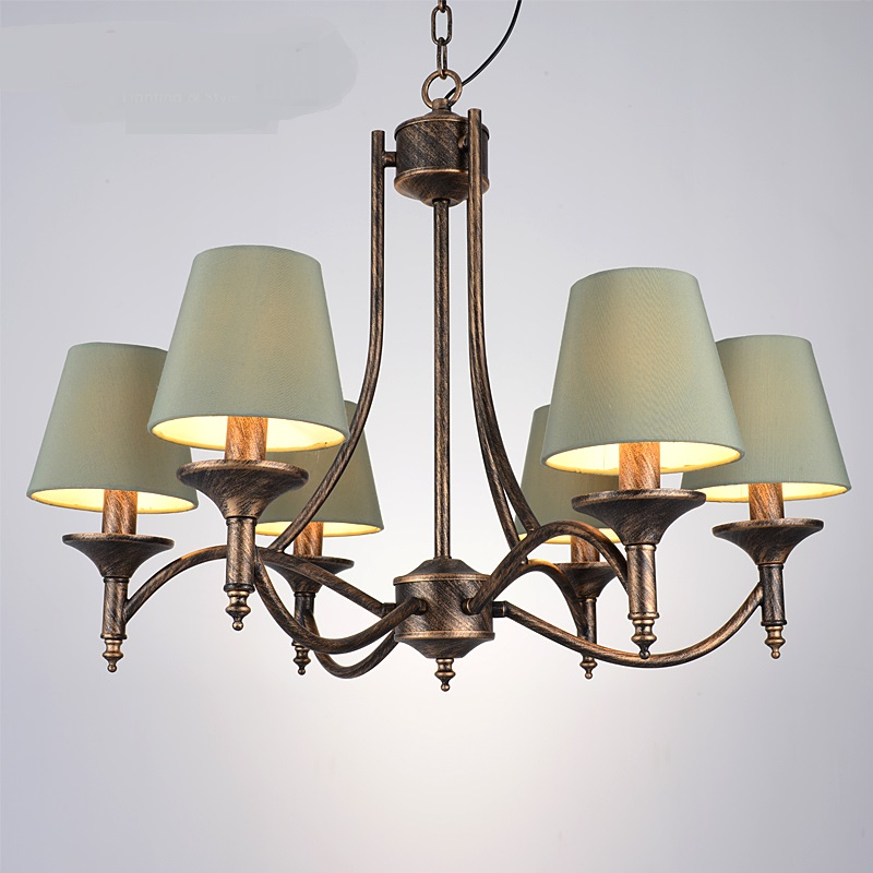 Multiple Chandelier vintage wrought iron country retro nostalgia bedroom living room lamp restaurants ZX69 korean princess wrought lamp iron bedroom led lamp american pastoral style living room children chandelier