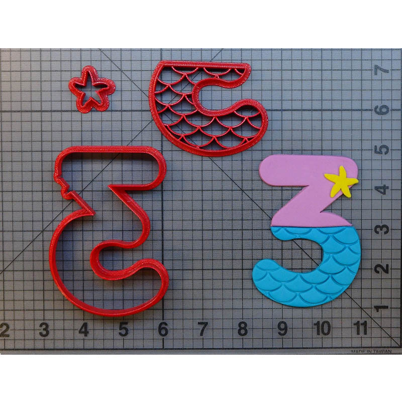 Mermaid Number One Two Cookie Cutter Set Fondant Cupcake Top Mould Made 3D Printed Cake Decoration Tools Biscuit Cookie Cutters in Cookie Tools from Home Garden
