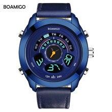 BOAMIGO Brand Men Sports Watches Fashion style multifunction Digital Analog Quartz Watches blue leather 50m waterproof clock