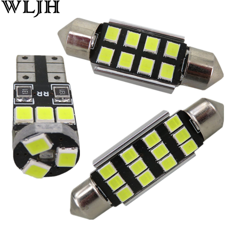 WLJH 12pc Canbus Error Frr Car Interior LED Reading lighting Kit For Volkswagen VW GOLF 4 MKIV MK4 GTI 337 20ae R32 1999-2005 canbus error free for volkswagen vw golf 6 mk6 gti led interior light kit package 2010 car stying 8pcs