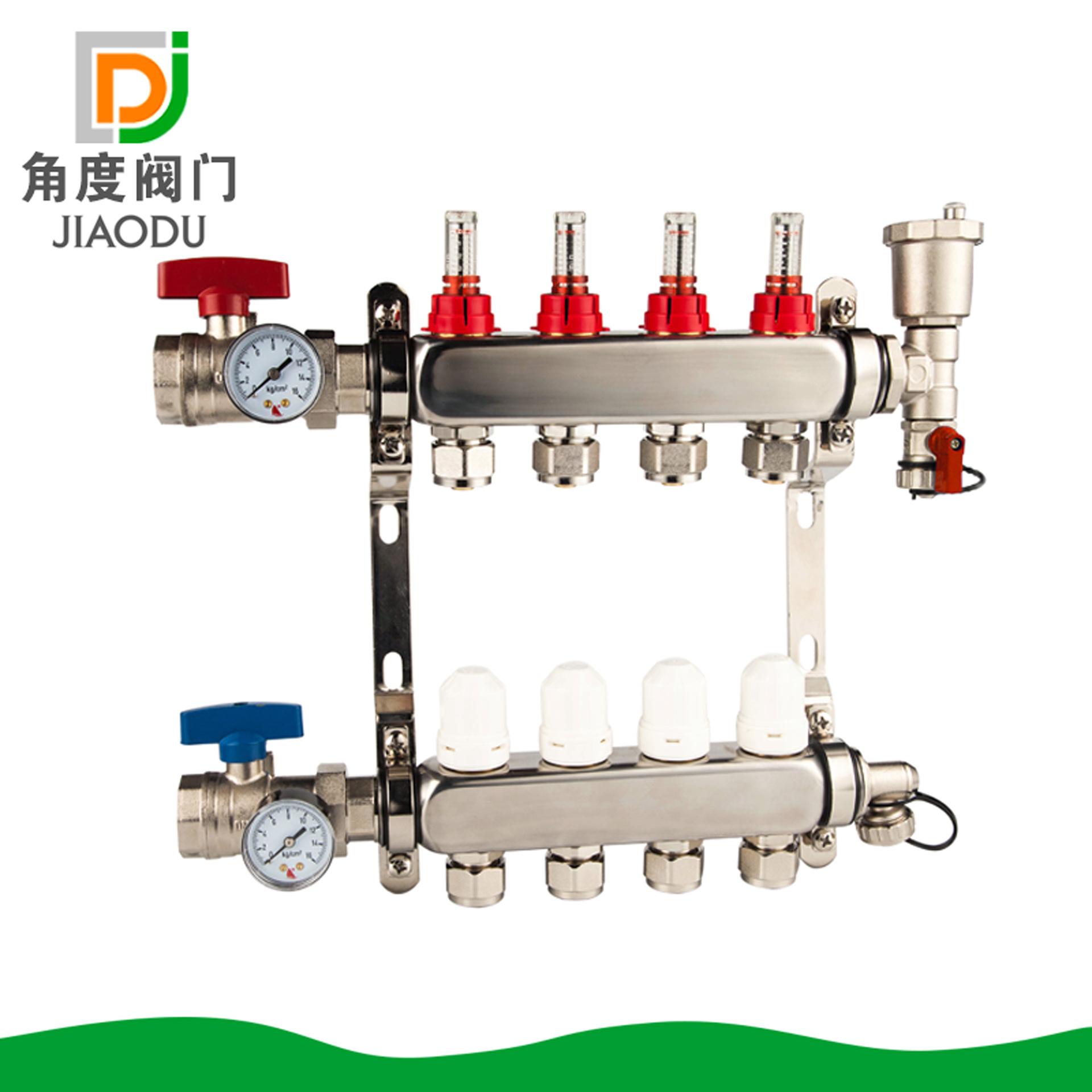 304 Polished Stainless Steel Floor Warm 4 WAYS Visual Flow Meter Sub-collector To Warm Geothermal Water Separator